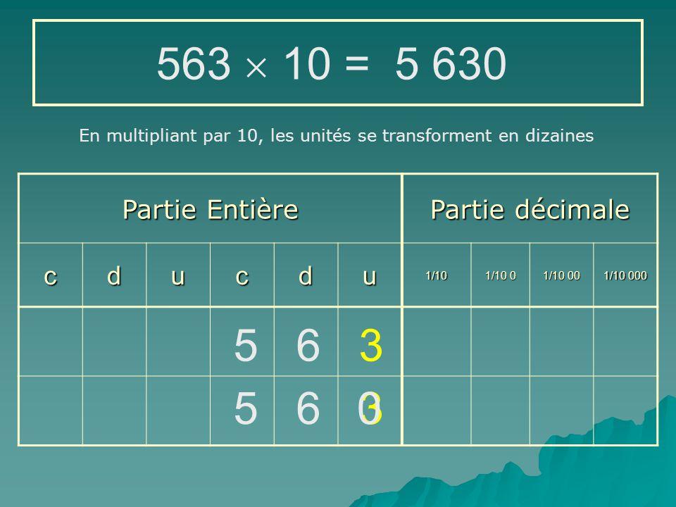 563  10 = 5 630 5 6 3 5 6 3 Partie Entière Partie décimale c d u