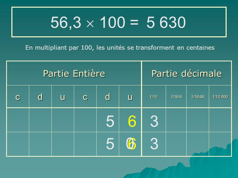56,3  100 = 5 630 5 6 3 5 6 3 Partie Entière Partie décimale c d u