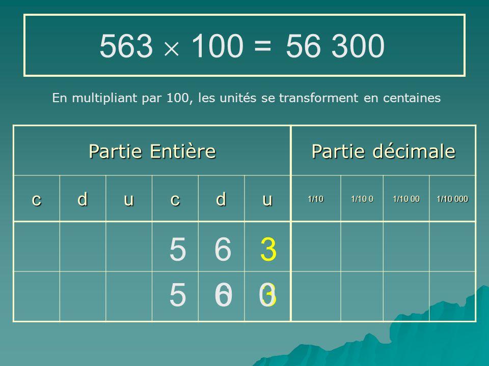 563  100 = 56 300 5 6 3 5 6 3 Partie Entière Partie décimale c d u