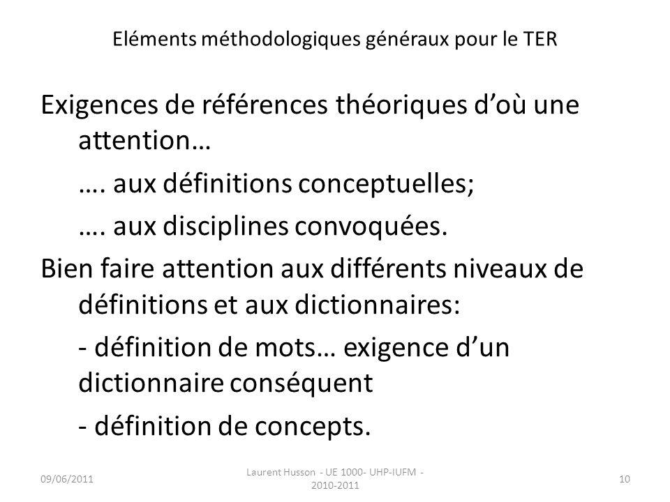 Eléments méthodologiques généraux pour le TER