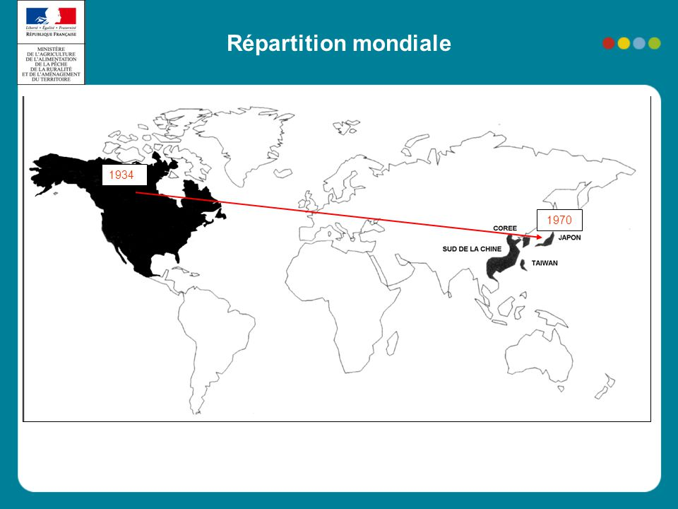 Répartition mondiale 1934 1970