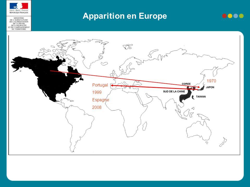 Apparition en Europe 1970 Portugal 1999 Espagne 2008