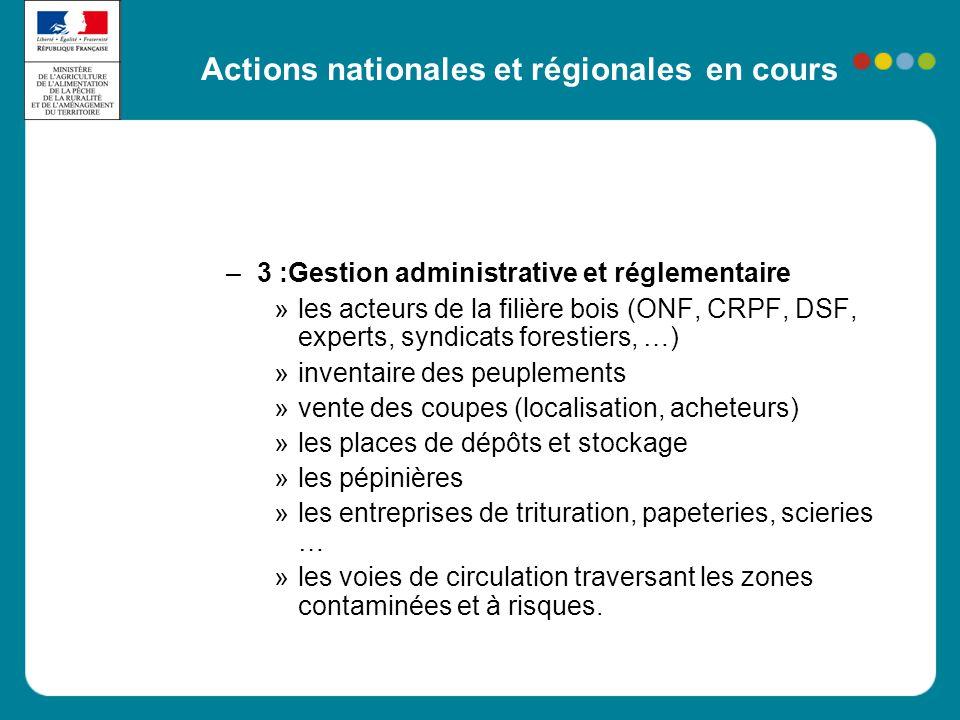 Actions nationales et régionales en cours
