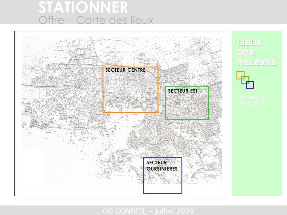 STATIONNER Offre – Carte des lieux LIEUX DES RELEVES SECTEUR CENTRE