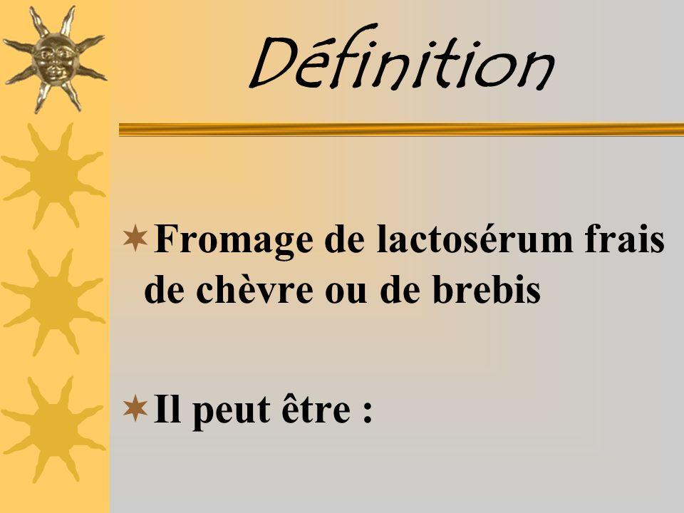 Définition Fromage de lactosérum frais de chèvre ou de brebis