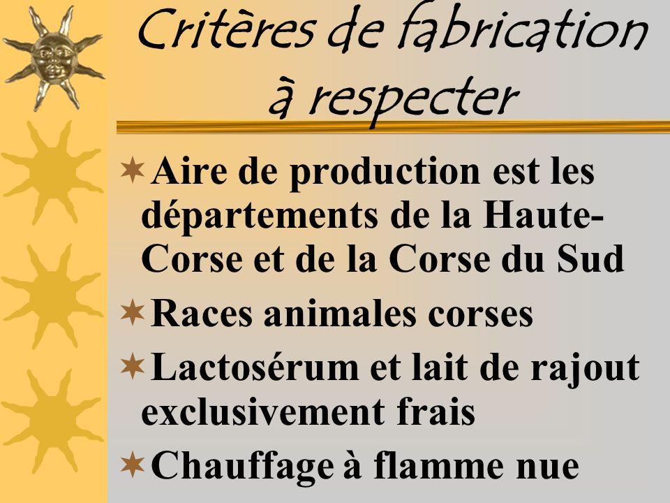 Critères de fabrication à respecter