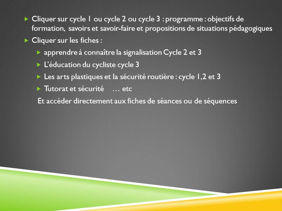 Cliquer sur cycle 1 ou cycle 2 ou cycle 3 : programme : objectifs de formation, savoirs et savoir-faire et propositions de situations pédagogiques