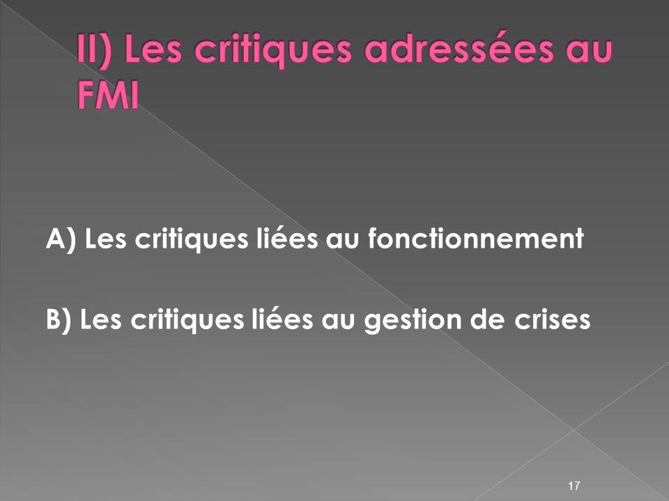 II) Les critiques adressées au FMI