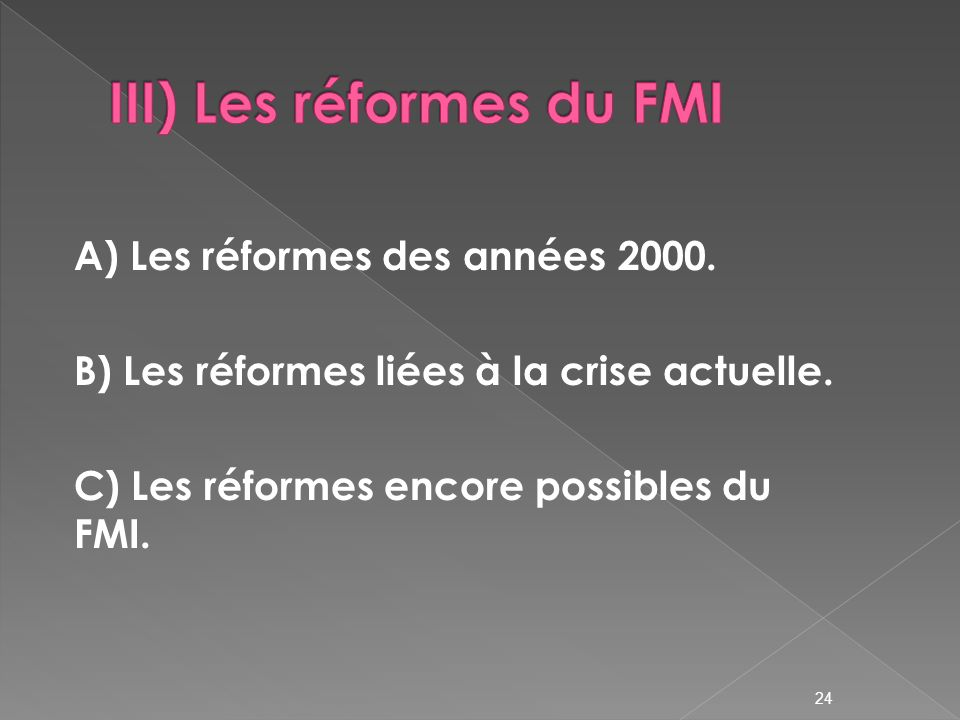 III) Les réformes du FMI