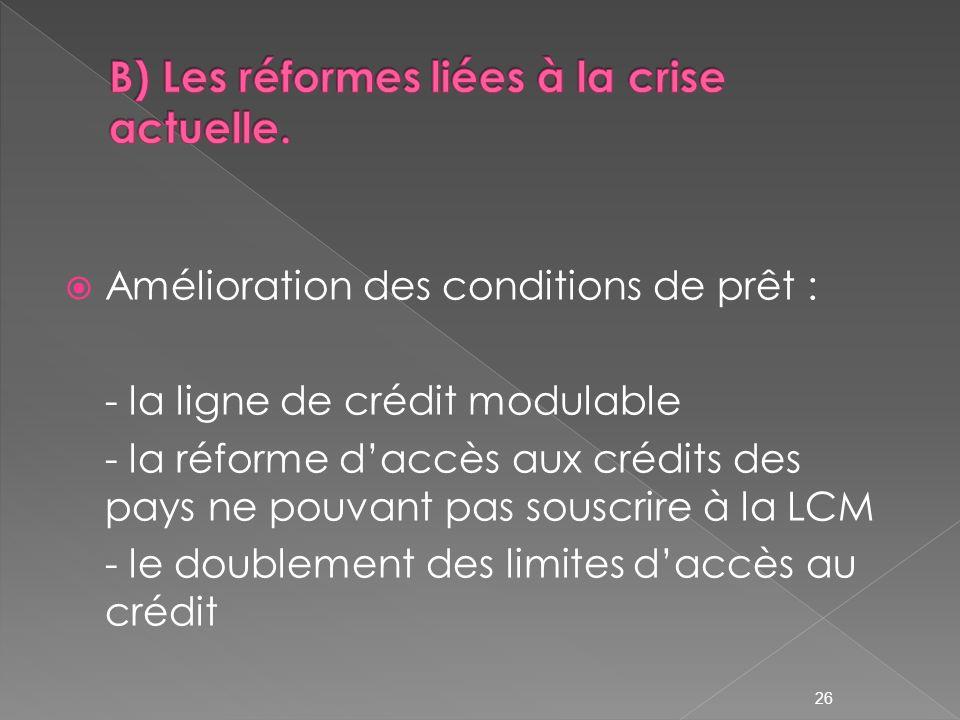 B) Les réformes liées à la crise actuelle.