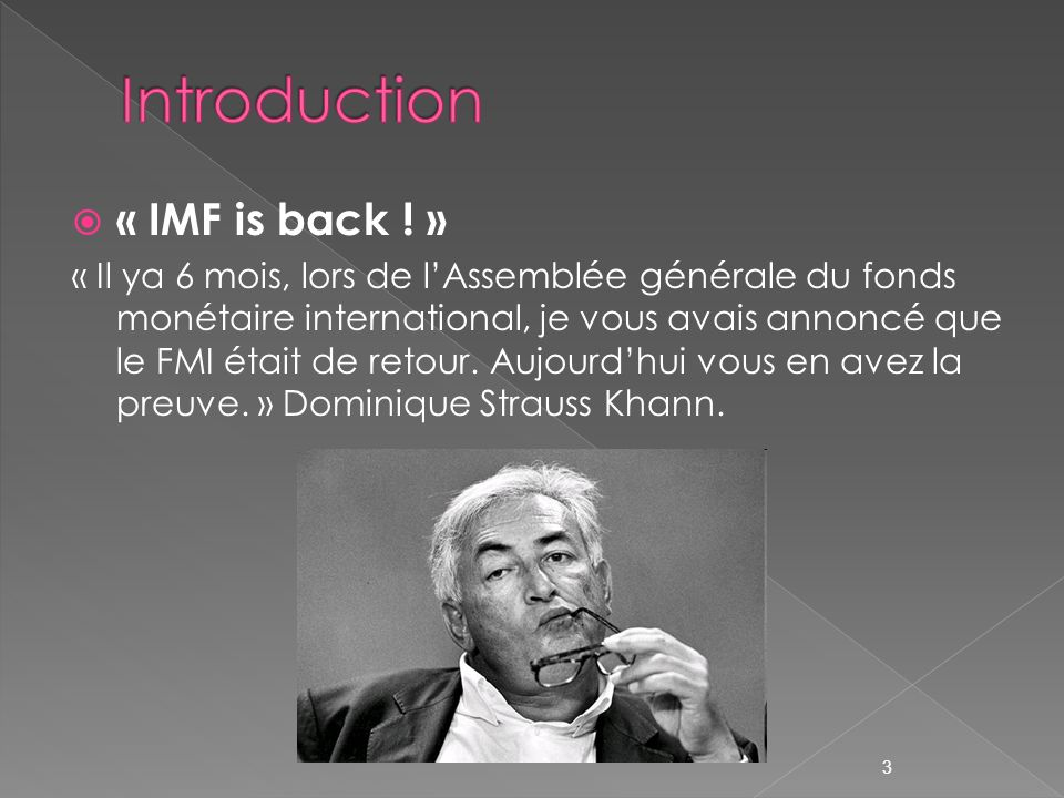Introduction « IMF is back ! »