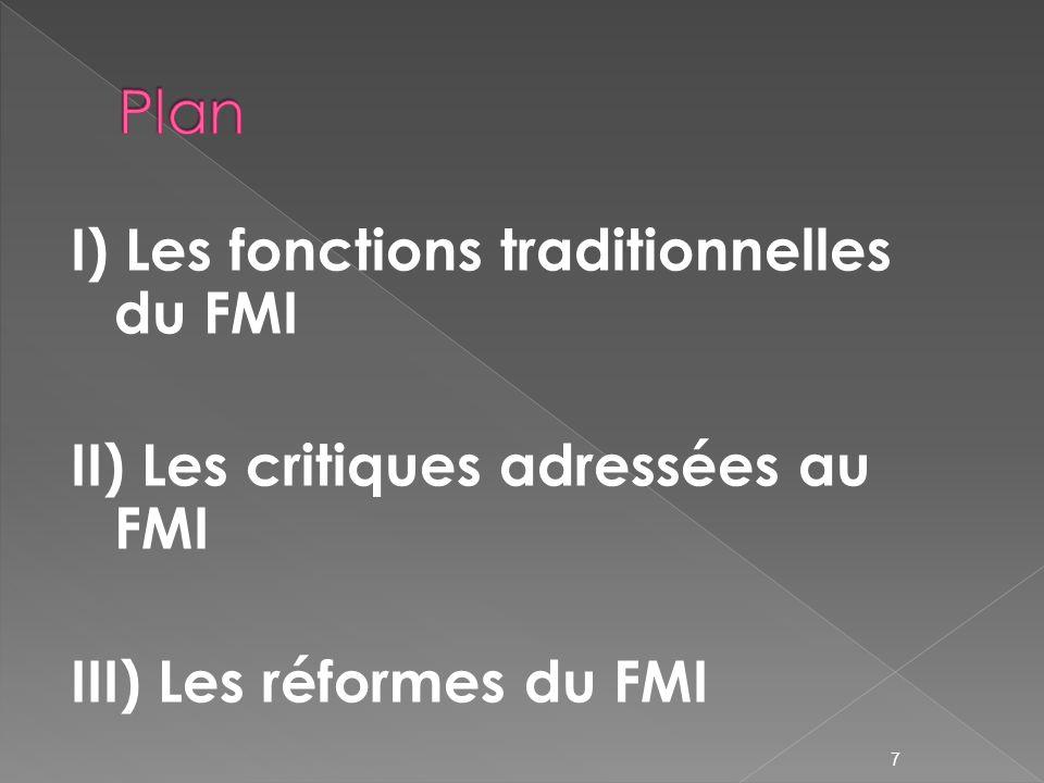 Plan I) Les fonctions traditionnelles du FMI