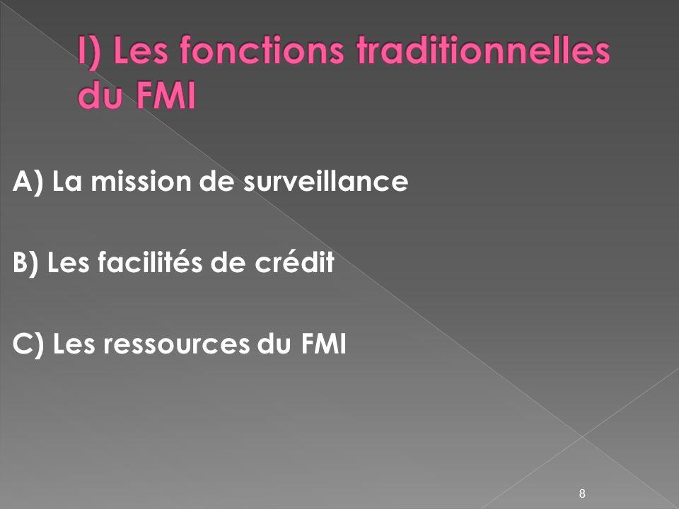 I) Les fonctions traditionnelles du FMI