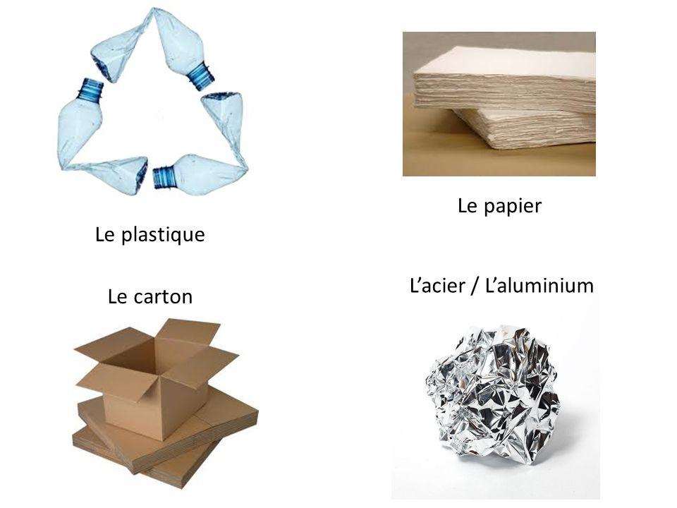 Le papier Le plastique L'acier / L'aluminium Le carton