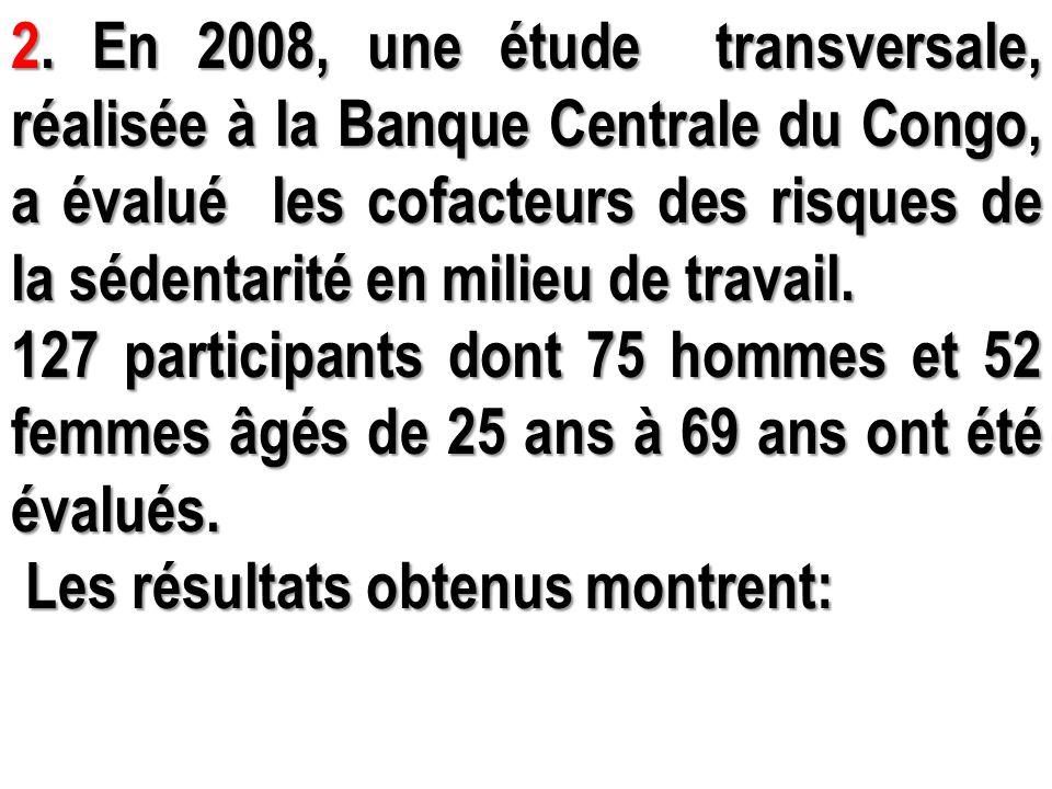 2. En 2008, une étude transversale, réalisée à la Banque Centrale du Congo, a évalué les cofacteurs des risques de la sédentarité en milieu de travail.