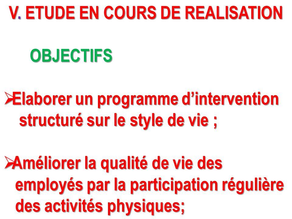 V. ETUDE EN COURS DE REALISATION