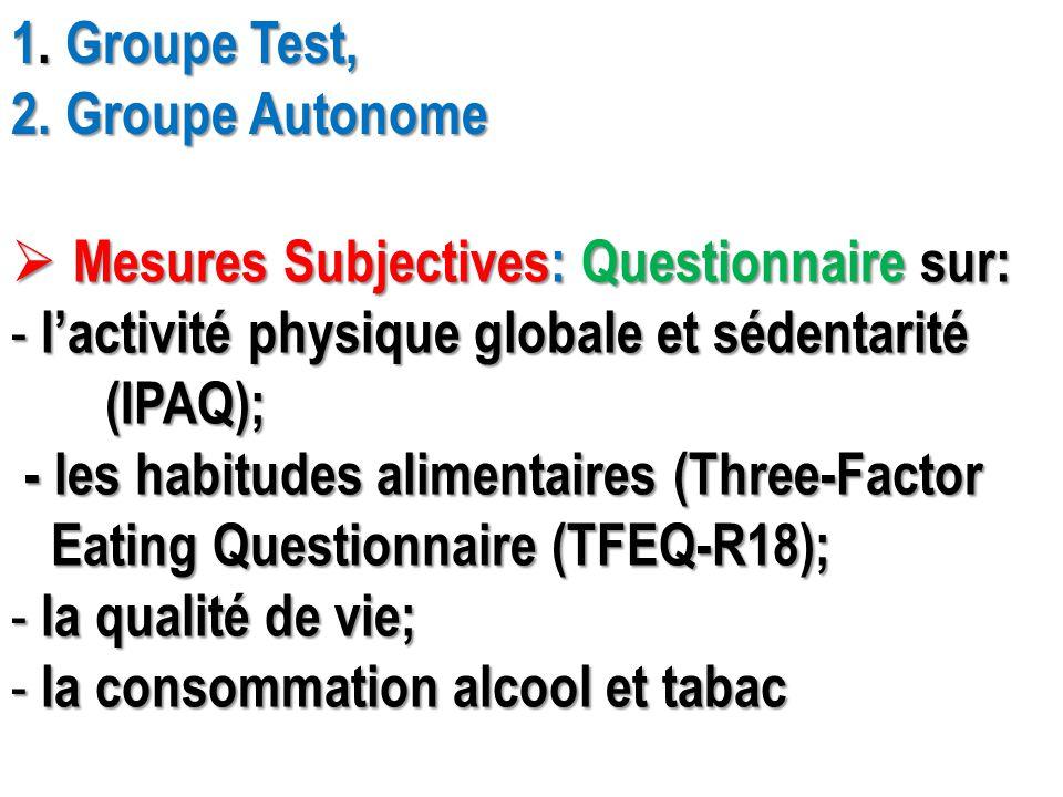 1. Groupe Test, 2. Groupe Autonome. Mesures Subjectives: Questionnaire sur: l'activité physique globale et sédentarité.