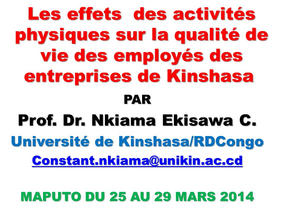 Les effets des activités physiques sur la qualité de vie des employés des entreprises de Kinshasa