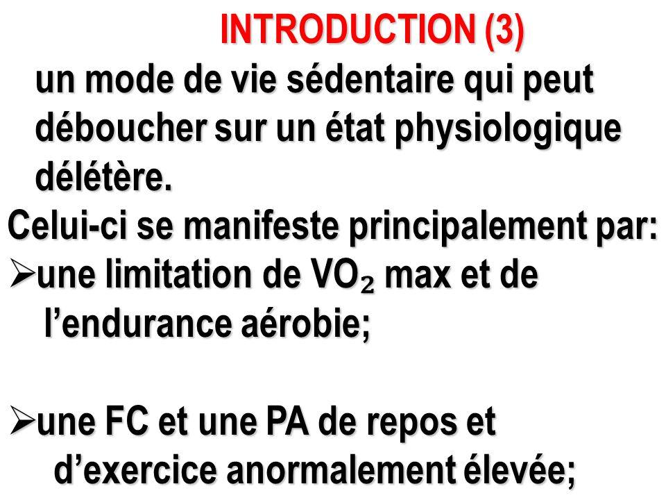 INTRODUCTION (3) un mode de vie sédentaire qui peut. déboucher sur un état physiologique. délétère.