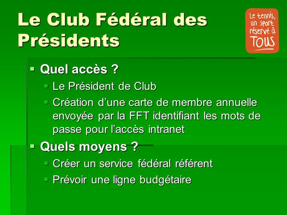 Le Club Fédéral des Présidents