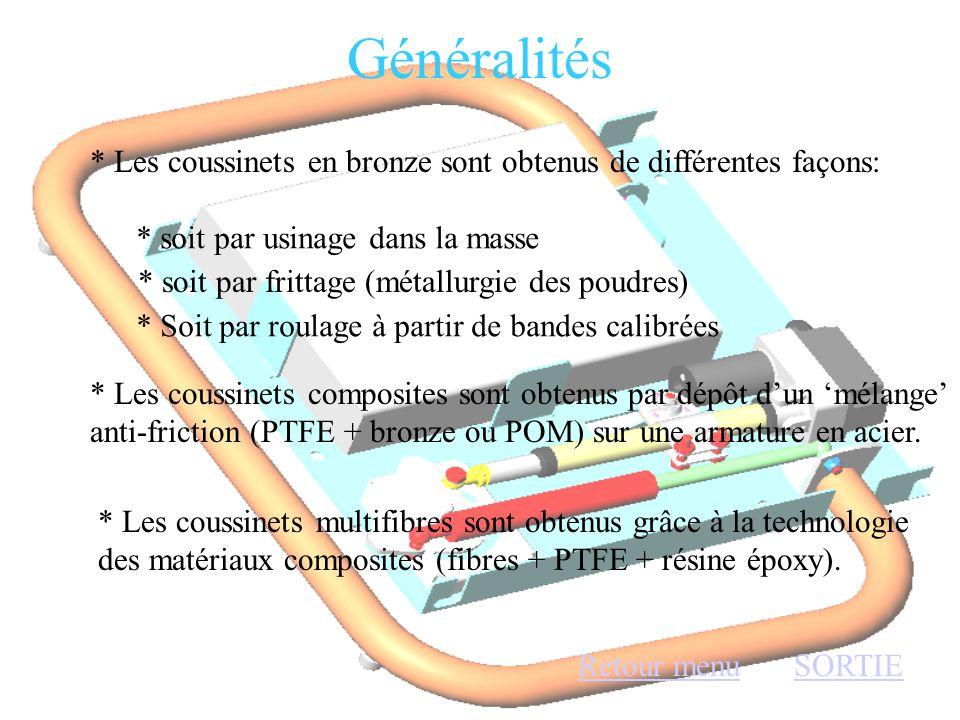 Généralités * Les coussinets en bronze sont obtenus de différentes façons: * soit par usinage dans la masse.