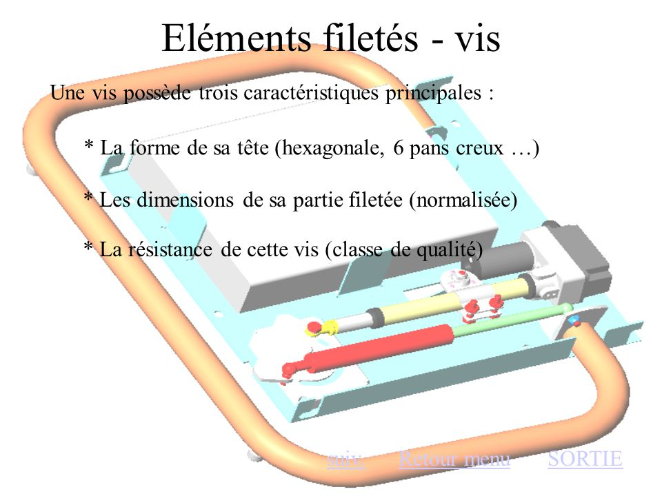Eléments filetés - vis Une vis possède trois caractéristiques principales : * La forme de sa tête (hexagonale, 6 pans creux …)