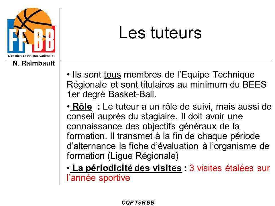 Les tuteurs Ils sont tous membres de l'Equipe Technique Régionale et sont titulaires au minimum du BEES 1er degré Basket-Ball.