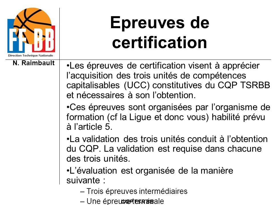 Epreuves de certification