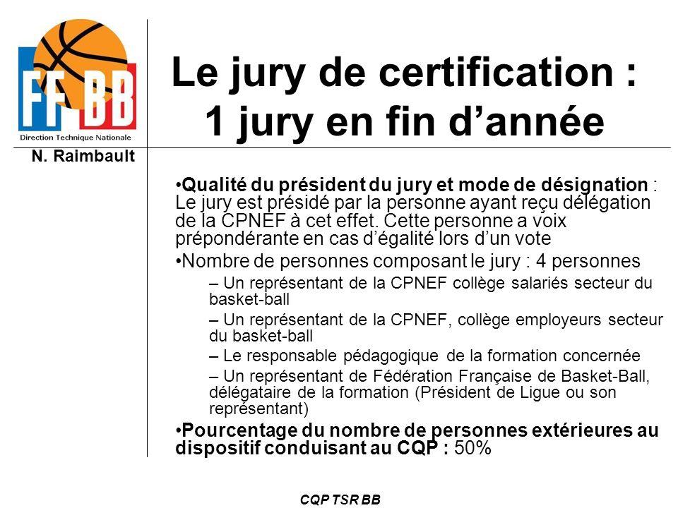 Le jury de certification : 1 jury en fin d'année