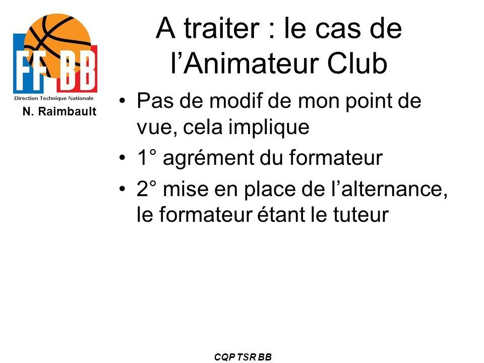 A traiter : le cas de l'Animateur Club