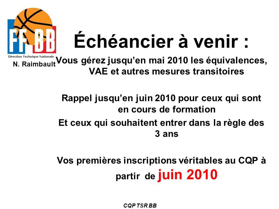 Échéancier à venir : Vous gérez jusqu'en mai 2010 les équivalences, VAE et autres mesures transitoires.
