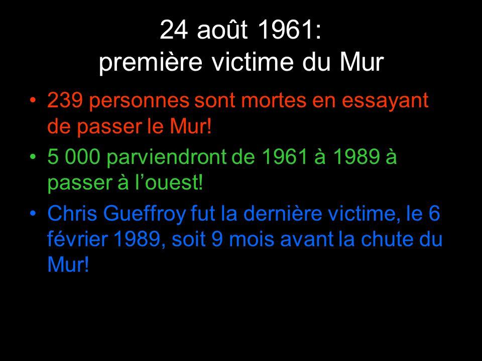 24 août 1961: première victime du Mur