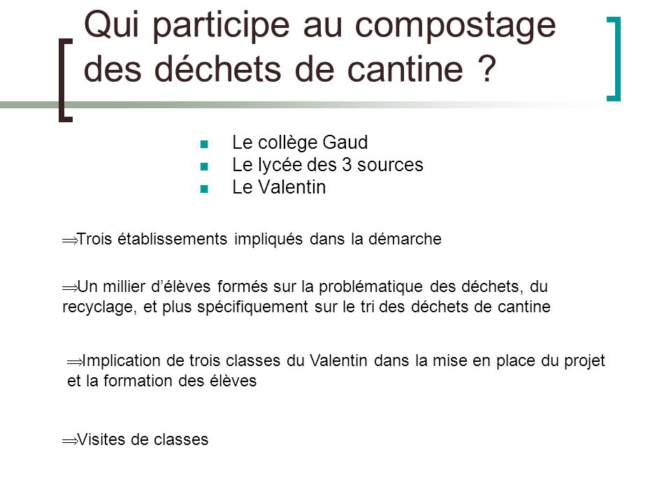 Qui participe au compostage des déchets de cantine