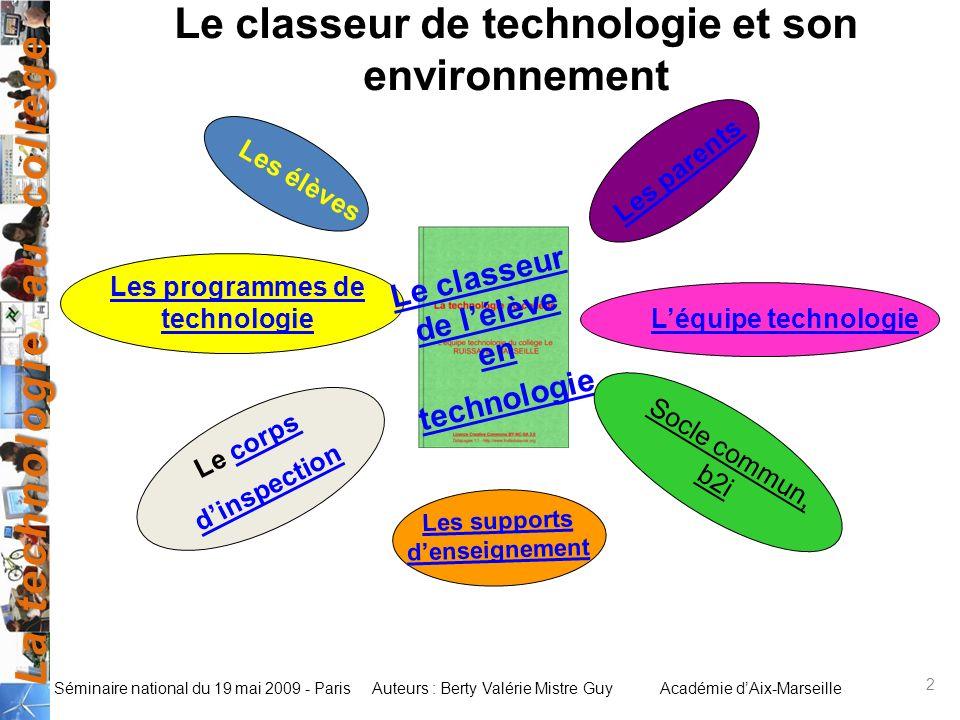 Le classeur de technologie et son environnement