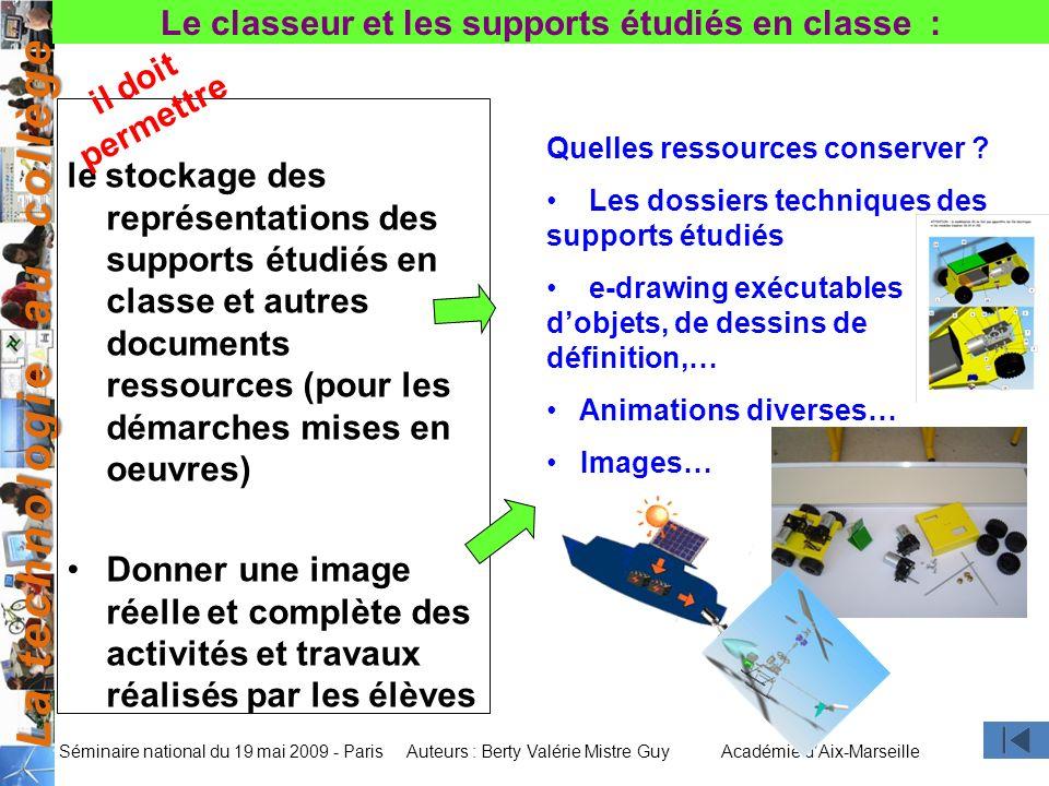 Le classeur et les supports étudiés en classe :