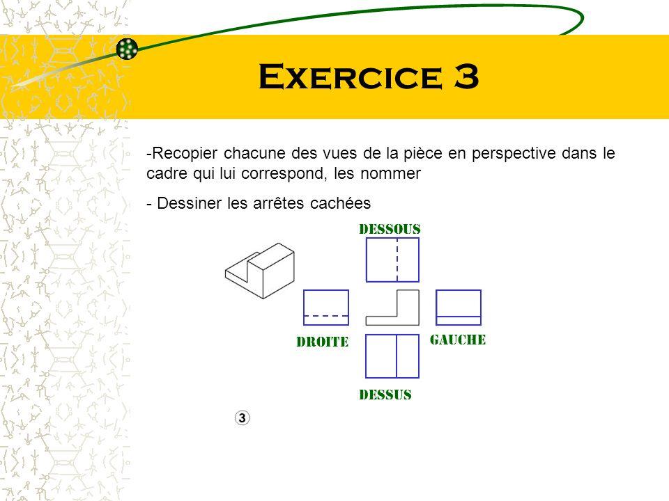 Exercice 3 Recopier chacune des vues de la pièce en perspective dans le cadre qui lui correspond, les nommer.