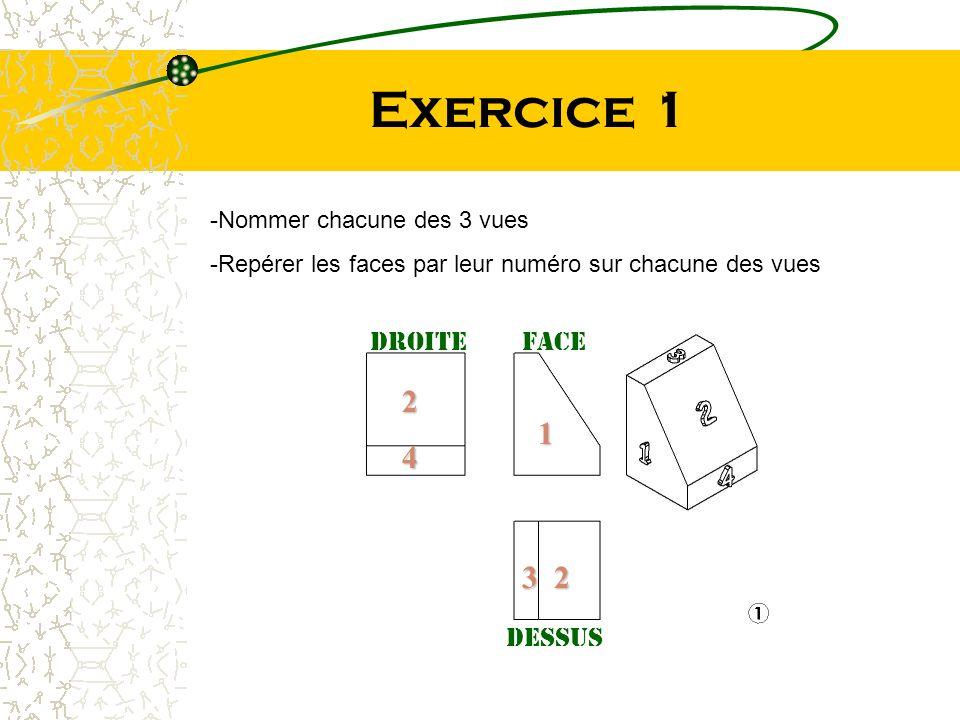 Exercice 1 2 1 4 3 2 Droite Face dessus Nommer chacune des 3 vues