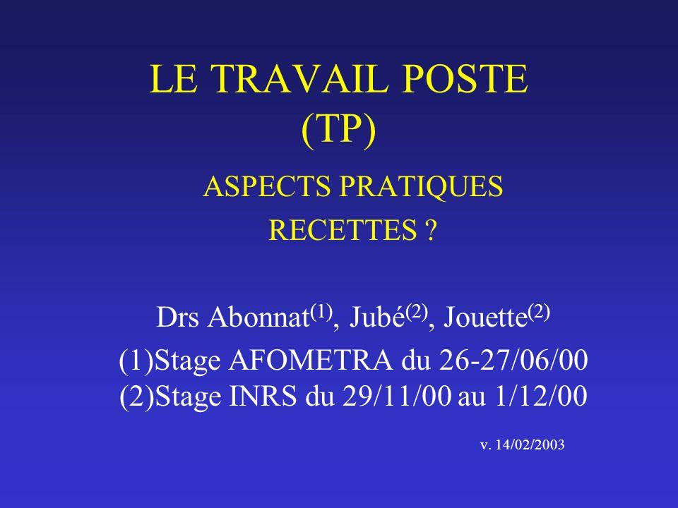 LE TRAVAIL POSTE (TP) ASPECTS PRATIQUES RECETTES