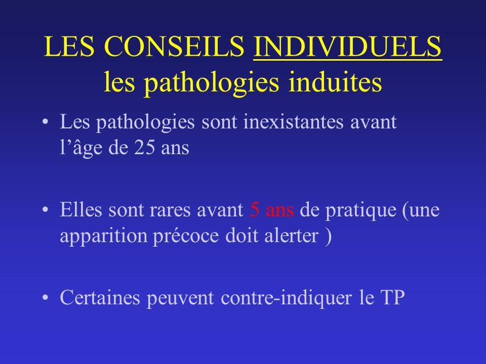 LES CONSEILS INDIVIDUELS les pathologies induites