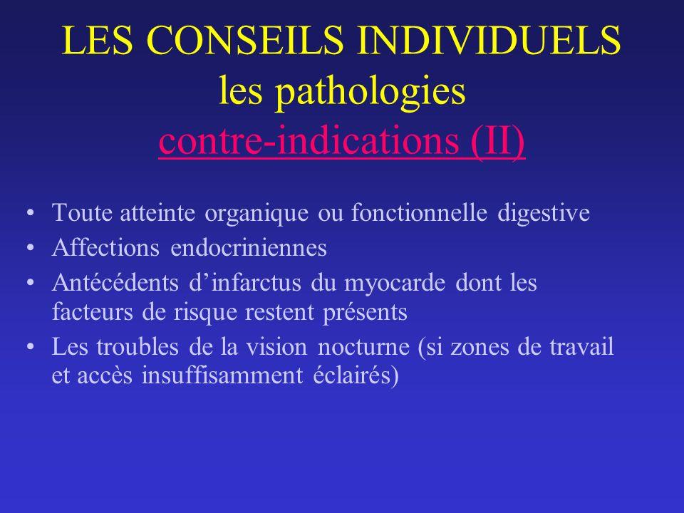 LES CONSEILS INDIVIDUELS les pathologies contre-indications (II)