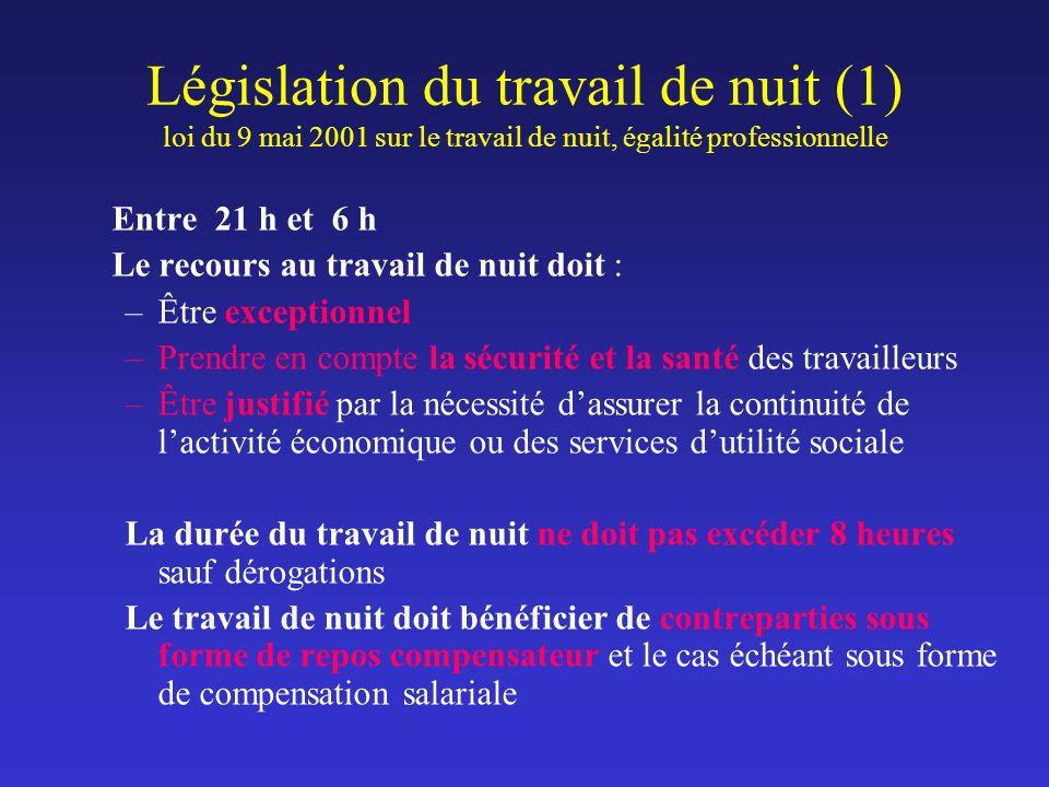 Législation du travail de nuit (1) loi du 9 mai 2001 sur le travail de nuit, égalité professionnelle