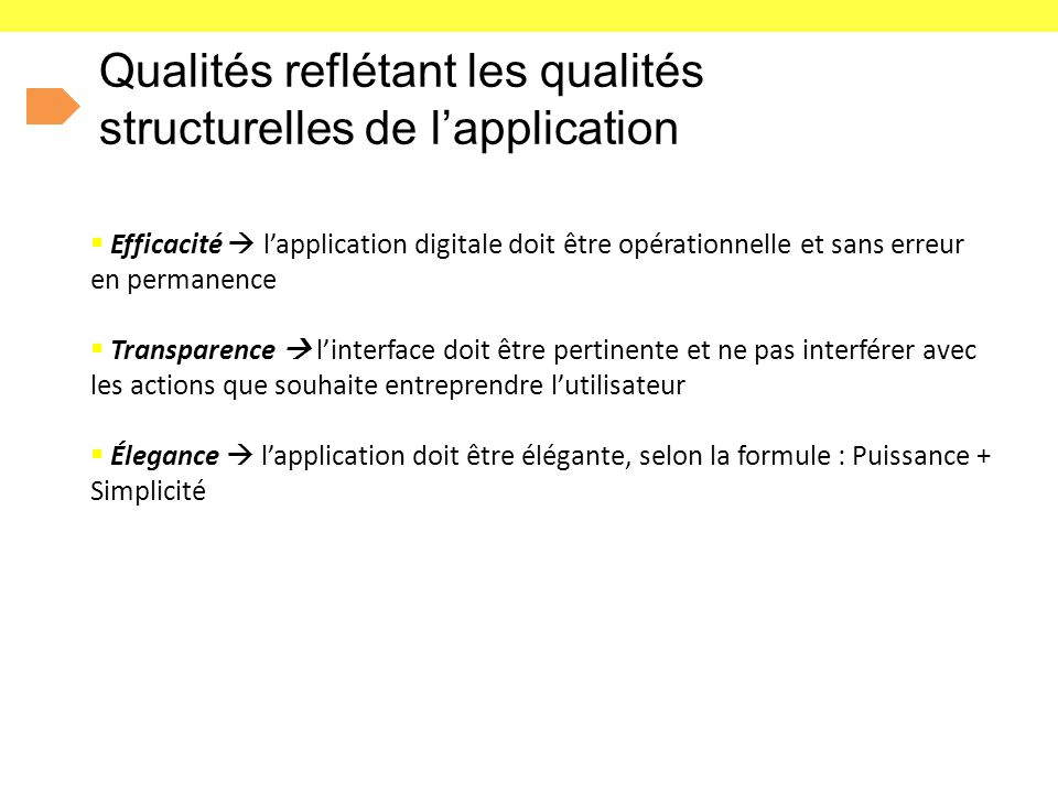 Qualités reflétant les qualités structurelles de l'application