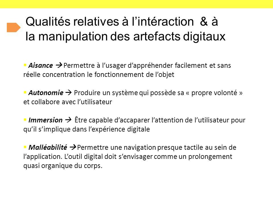 Qualités relatives à l'intéraction & à la manipulation des artefacts digitaux