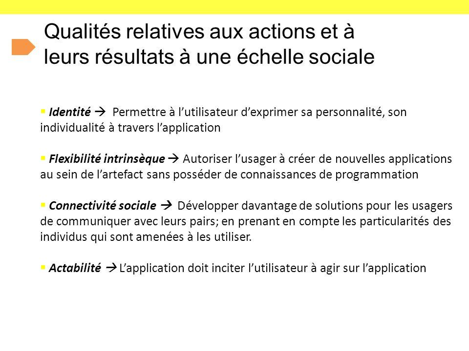 Qualités relatives aux actions et à leurs résultats à une échelle sociale