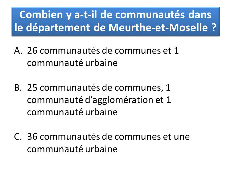 Combien y a-t-il de communautés dans le département de Meurthe-et-Moselle