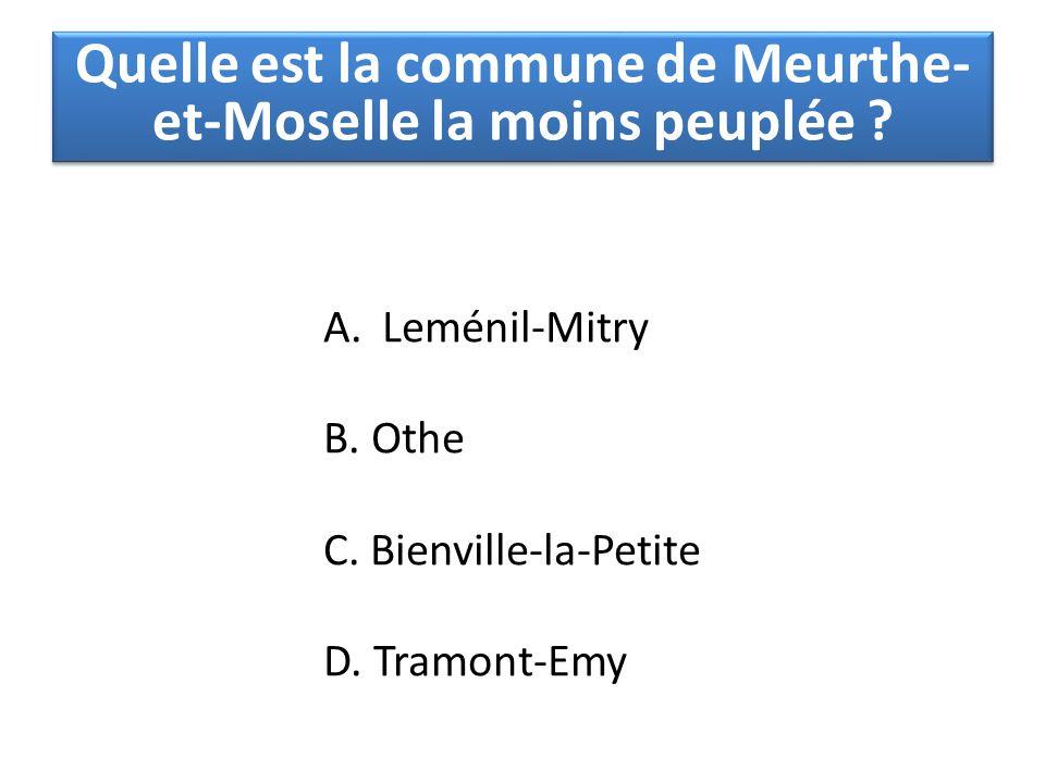 Quelle est la commune de Meurthe-et-Moselle la moins peuplée