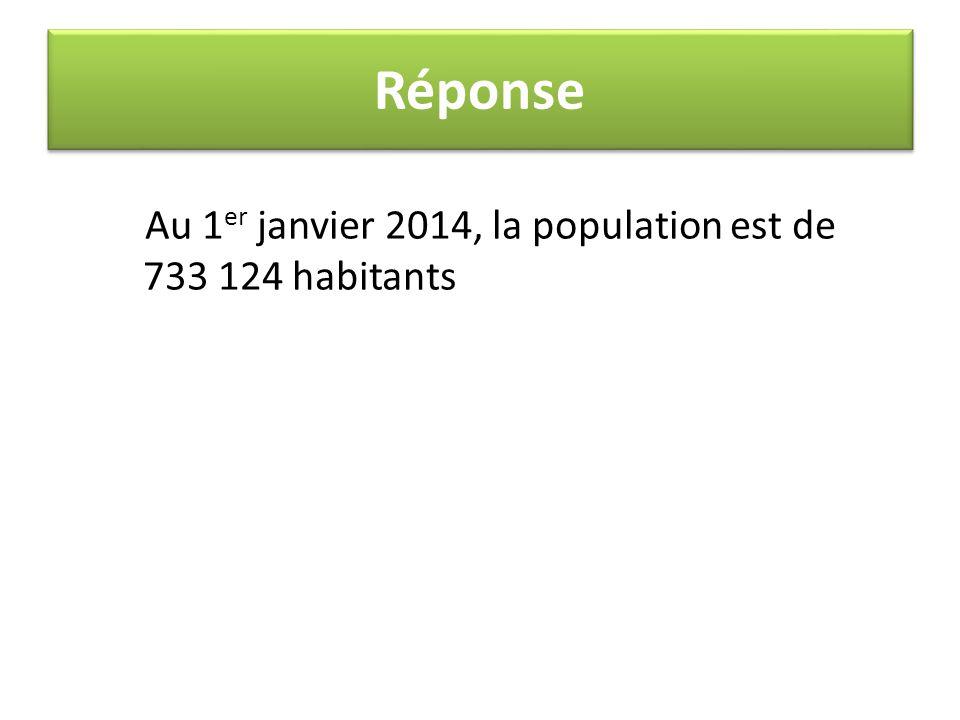 Réponse Au 1er janvier 2014, la population est de 733 124 habitants