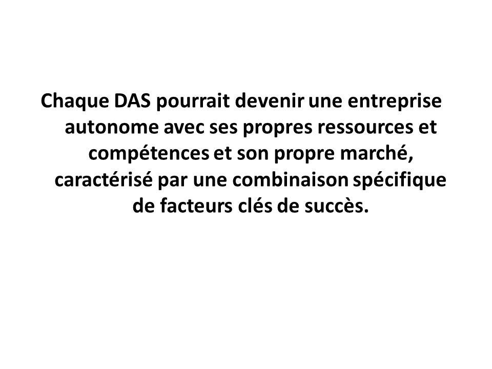 Chaque DAS pourrait devenir une entreprise autonome avec ses propres ressources et compétences et son propre marché, caractérisé par une combinaison spécifique de facteurs clés de succès.