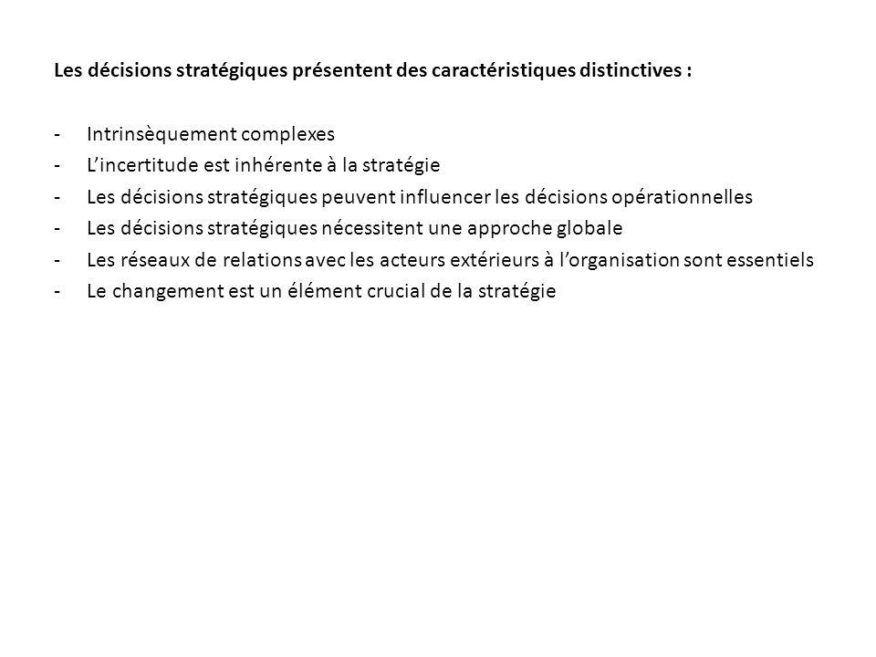 Les décisions stratégiques présentent des caractéristiques distinctives :