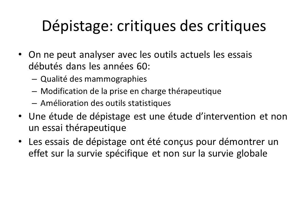 Dépistage: critiques des critiques